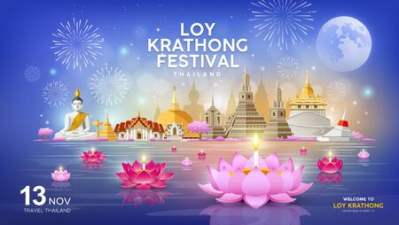 Welcome to Loy Krathong festival in building and landmark Thailand banners on blue Illustration