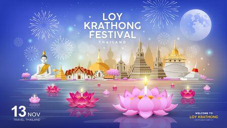 Welcome to Loy Krathong festival in building and landmark Thailand banners on blue Ilustração