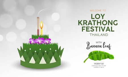 Loy Krathong festival in Thailand banana green leaf material Archivio Fotografico - 130806284
