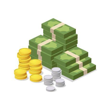 Money stacks on white