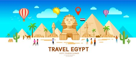 Egypt travel people vector. Pyramid traditional design. summer holiday on sky and clouds with point markers design Ilustração