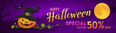 Happy Halloween  for sale banner pumpkin with bat on moon night purple Çizim