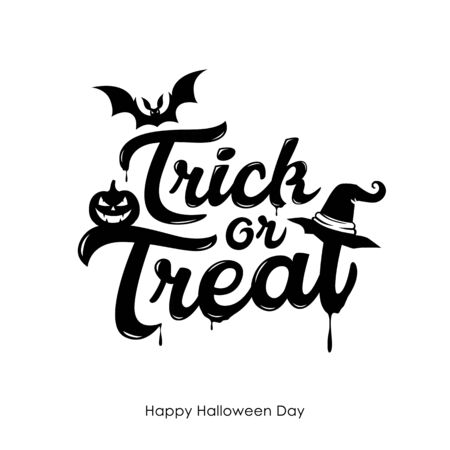Halloween Trick or treat message vector, and bat pumpkin design isolated on white