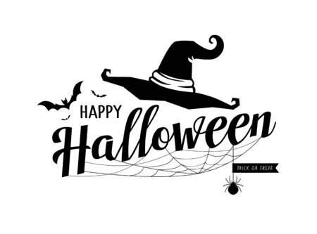 Happy Halloween message vector, hat and cobweb design isolated on white 일러스트