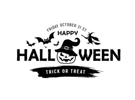 Happy Halloween vector message Pumpkin in a hat black and white design isolated on white