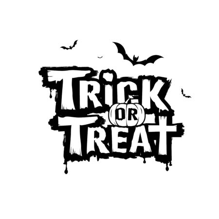 Happy Halloween, trick or treat message black and white vector design collections