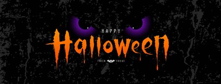 Happy Halloween vector, orange message with spooky eye on rough surface background, illustration