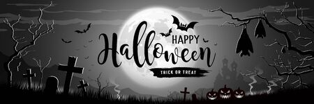 Happy Halloween message on Moon and Castle, trees on gray