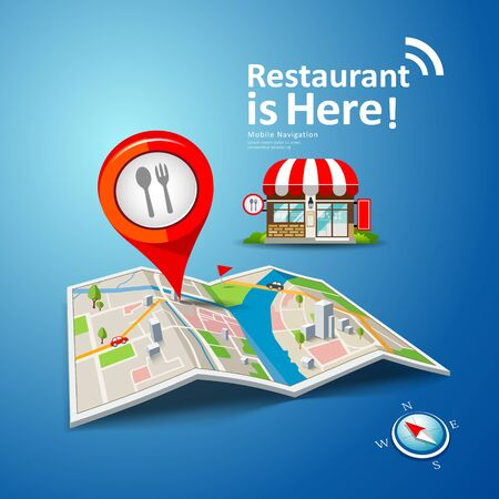 Folded maps vector with red color point markers, restaurant is here design