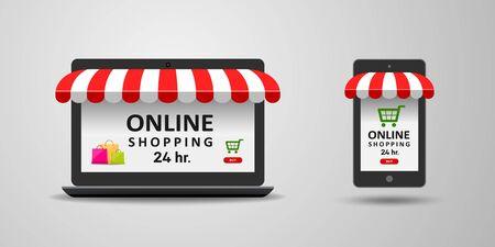 Laptop and mobile phone online shopping sale concept design background, vector illustration