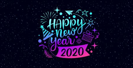 Happy new year 2020 message with icons purple and blue design on star background, vector illustration Ilustração