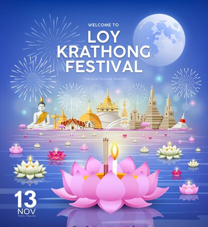 Loy krathong festival, chao phraya river holy place in thailand Ilustração