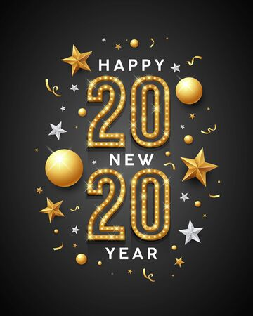 2020 Happy New Year message gold and white design with star on black background, vector illustration Ilustração