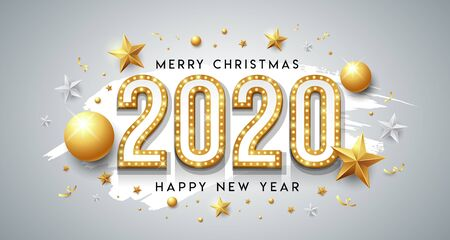 2020 Happy New Year and merry christmas message gold design with star on white background, vector illustration Ilustração