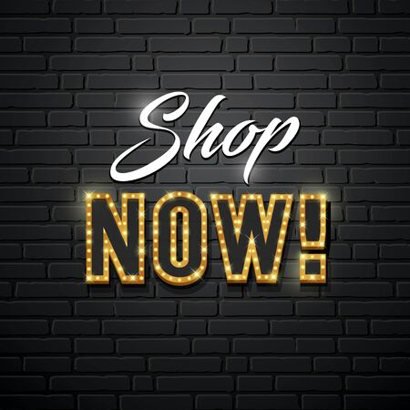 Shop now message vector gold lighting design on wall blocks black background, illustration