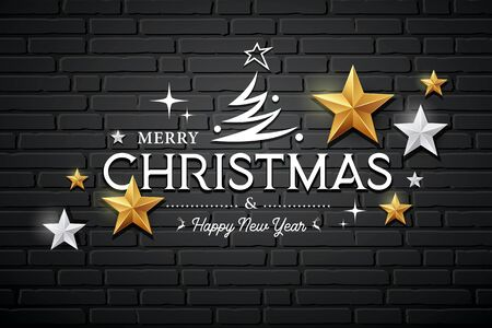 Merry Christmas message vector, gold stars and silver stars design on black block wall