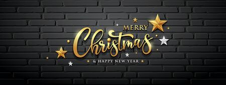Merry christmas  message gold and white design block wall banner on black