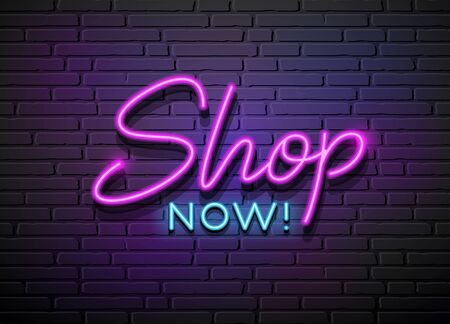 Shop Now Neon Light vector collections design on block wall black background, illustration