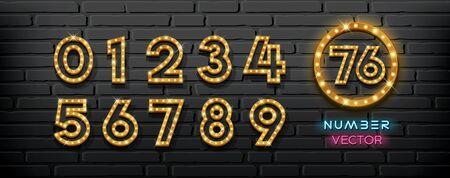 Vector light up lamp numbers collection on block wall black background, illustration Ilustração