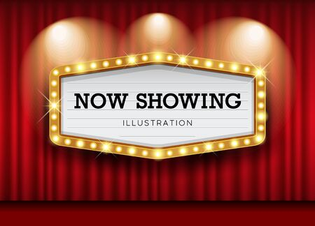 Cinema Theater curtains and sign light up design background, vector illustration