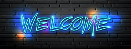 Neon light vector welcome message design on block wall black background, illustration