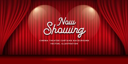 Cinema Theater curtains red banner background, vector illustration