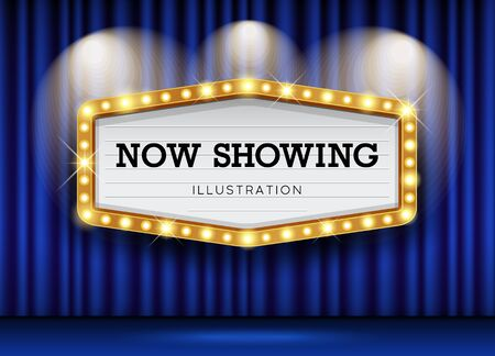 Cinema Theater blue curtains and sign light up design background, vector illustration