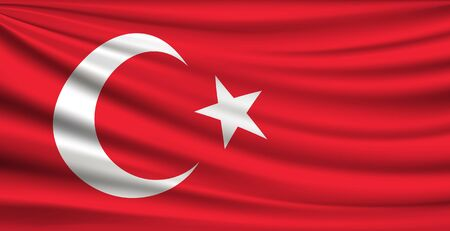 Flag of Turkey fabric red background, vector illustration