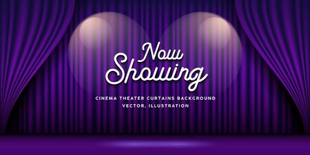 Cinema Theater curtains purple banner background, vector illustration