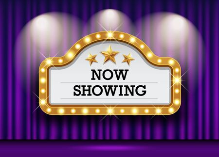Cinema Theater and sign light up curtains purple design background, vector illustration