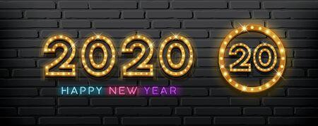 2020 Happy New Year light up lamp gold design on block black background, vector illustration Ilustração