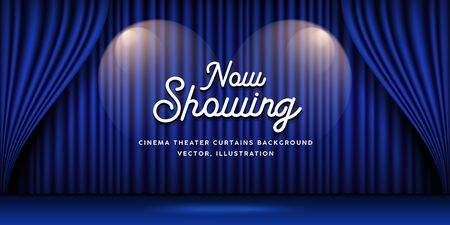 Cinema Theater curtains blue banner background, vector illustration