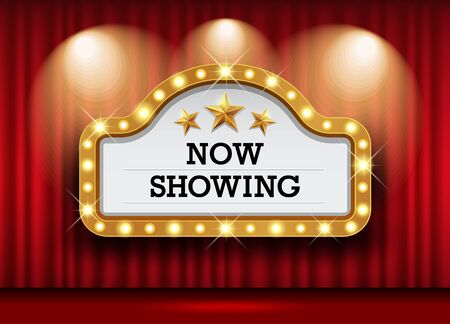 Cinema Theater and sign light up curtains red design background, vector illustration