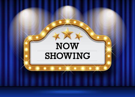Cinema Theater and sign light up curtains blue design background, vector illustration Ilustração