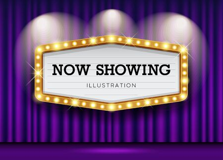 Cinema Theater purple curtains and sign light up design background, vector illustration Vectores