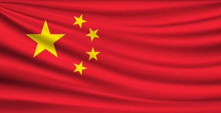 Flag of china on stars yellow and red fabric background, vector illustration Ilustração