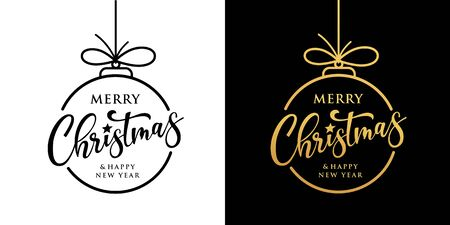 Merry christmas vector design black and gold collection on black and white background, illustration Banco de Imagens - 134585533