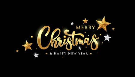 Merry christmas vector message gold and white banner design on black background, illustration Ilustração