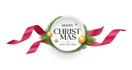 Merry Christmas ribbon label vector, banners design isolated on white background, illustration