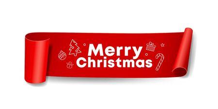 Vector Red Roll paper Merry Christmas design on white background, illustration Ilustração