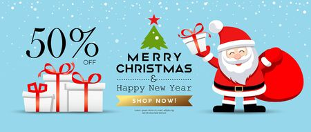 Merry Christmas Santa Claus with gift box sale concept banner design on snowflake blue background, vector illustration
