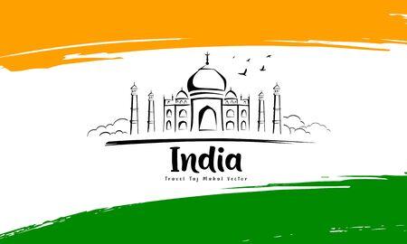 Taj Mahal sketching drawing in flag of india design background, vector illustration Ilustração