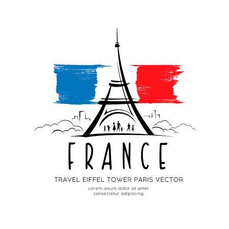 Eiffel tower flag of france sketching vector design background, illustration Ilustração