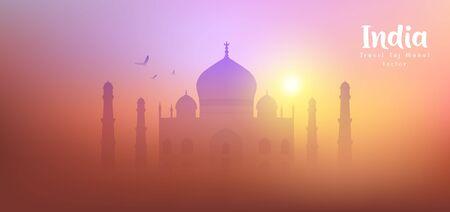 Taj Mahal Travel India vector, silhouette colorful sunset background, illustration