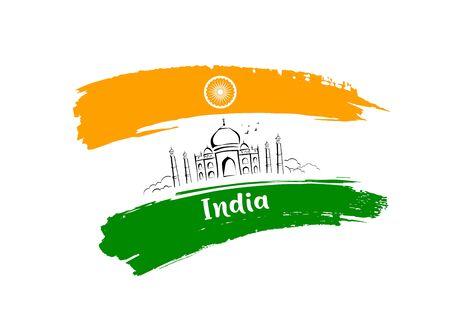 Taj Mahal sketching drawing flag of india brush stroke design background, vector illustration