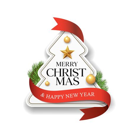 Merry Christmas label paper red ribbon design isolated on white background, vector illustration