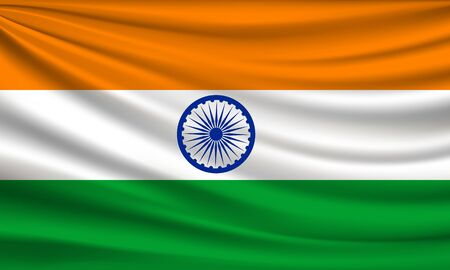 Flag of india fabric colorful background, vector illustration