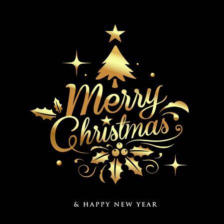 Merry Christmas golden lettering design on black background, vector illustration Ilustração