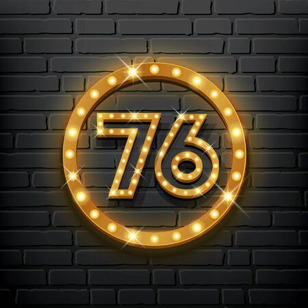 Number seventy-six gold light up vector on block wall background, illustration