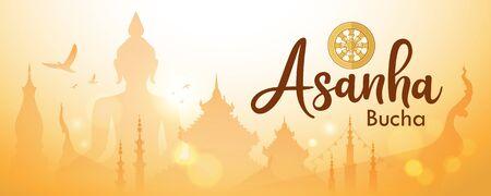 Asanha Bucha Important Buddhist Day in Thailand background, vector illustration